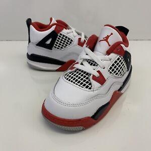 Nike Jordan 4 Retro Fire Red Toddler 2020 release BQ7670-160 Size 8c No Box Lid