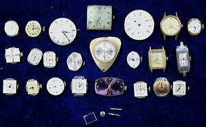 Lot of 23 Assorted Watch Movements Various Brands
