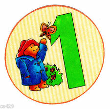 "3.5"" PADDINGTON BEAR NUMBER #1  CIRCLE 1ST  BIRTHDAY FABRIC APPLIQUE IRON ON"