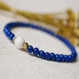 4mm natural Lapis lazuli white shell agate beads bracelet gift New Year Women