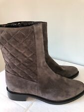 Aquatalia Gray Quilted Suede Leather Boots/Booties Size 8.5 New