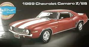 New Acme Retro Studios 1:18 Scale 1969 Chevrolet Camaro Z/28, Red/ White Car