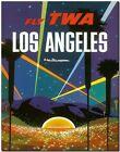 "Retro Travel Poster *FRAMED* CANVAS PRINT ~ Los Angeles Night TWA 16""x12"""