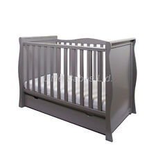 Grey Sleigh Mini Cot Bed with Drawer + ECO HD Airflow Fibre Mattress 120x60x10cm