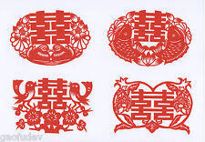 Chinese Paper Cuts - Double Happiness Set (8 small red pieces)