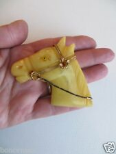 Vintage Bakelite Marbed Yellow Horse Head Glass Eye Brass Metal Trim Pin Brooch