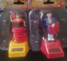 Two (2) Solar Power Dancing SENORITA & MATADOR Halloween Toys NEW