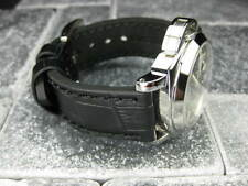 New BIG CROCO 20mm Black LEATHER STRAP Black Stitch watch Band OMEGA Seamaster