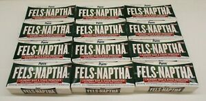 12 Pack Lot Fels Naptha Laundry Bar and Stain Remover, 5 Ounce, 12 bars