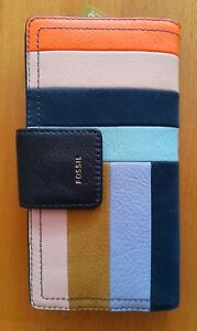 BNWT Fossil purse wallet leather suede luxurious colour block