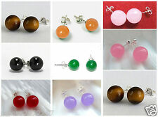 10mm Genuine Jade & Gemstone Round bead Earrings 925 Sterling Silver Studs