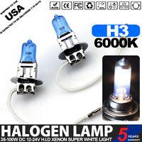 2 Pcs H3 12V 100W Halogen Headlight Car Driving Fog Light Lamp Bulb 6000K