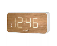 Capello Big Clock Dual Alarm Wood Grain Time Display White Pine Ca-35