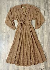 Vtg Norma Kamali Brown Cotton Boyfriend Loose Shirt Flowy Dress 4/Sm Fitted