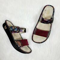 Alegria Keara Sandals 39 EU 9 US Burgundy Red Floral Slip-On Hook N Loop Slides