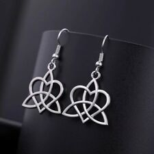 Silver Plated Triquetra Celtic Trinity Knot And Heart Earrings