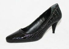NWB PRADA Cocco Lux Print Wo's 6 EU 36.5 Black Croco Embossed Leather PUMPS