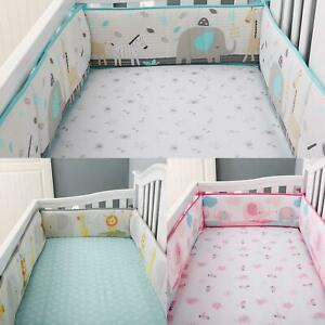 4PCS Baby Bed Circumference Surround Crib Bumpers Bedskirt Guardrail Wall Strip