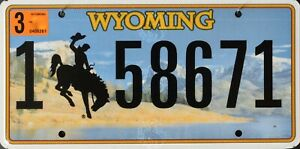 USA Number Licence Plate WYOMING BRONCO CURRENT ISSUE
