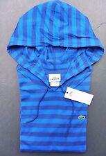 NWT Lacoste Men's Lightweight Bright Blue Striped Cotton Hoodie Shirt XL Eur 7