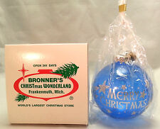 Bronners Christmas Ornament Wonderland Blue Glass Silver Glitter Shooting Stars