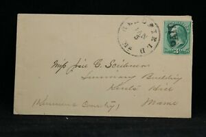 Maine: Readfield 1870s 3c Banknote Cover, SOTN PAID, Kennebec Co