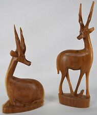 BEAUTIFUL Set of Hand Carved Made in Kenya Solid Wood Gazelles/Antelopes
