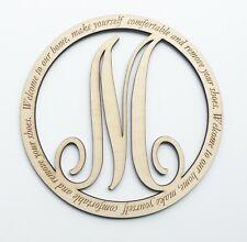 Personalized Monogram Welcome 12 inch Engraved Wood Circle Door Sign, Front door