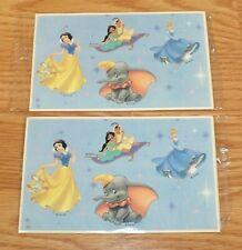 Lot of 2 Genuine Disney Dumbo Snow White Aladdin Cinderella Sticker Set **NEW**