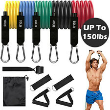 11pcs/Set 150lbs Pull Rope Exercise Resistance Bands For Home Gym Yoga Fitness