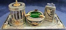 Vintage Metal Smoker Set Rose Pattern Tray, Lighter, Cigarette Case and Ashtray