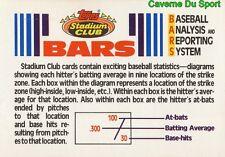 BASEBALL ANALYSIS REPORTING SYSTEM BARS TOPPS BASEBALL CARD STADIUM CLUB 1992