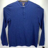 Tasso Elba Mens Long Sleeve Band Collar Thin Pullover Sweater Blue L