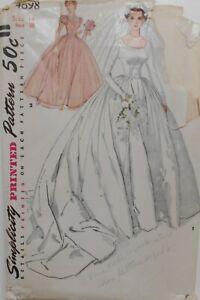 FF UNCUT Vintage Simplicity Sewing Pattern #4698 Wedding Gown Miss Sz 14 Bust 32