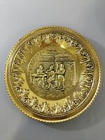 Brass Plate Dish Decor Wall Hanging England Pub Scene 12""
