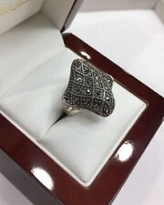 Ring Sterling Silver Marcasite Vintage & Antique Jewellery