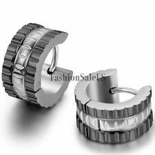 2pcs Men's Wide Stainless Steel Huggie Hoop Earrings Black Gold Tone For Choice