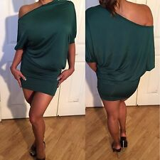 Connie's off the shoulder 3/4 sleeve Green Mini Dress with fitted skirt M
