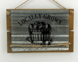 Autumn Fall Rustic Locally Grown Apples Metal And Wood Sign New Free Shipping