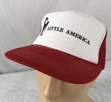 Vtg Little America Hat Snapback Trucker Cap Gas Station Penguin Red Mesh