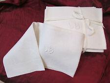 12 anciennes serviettes monogramme LB brodé damassé ajouré