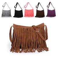 UK Women's Fringe Messenger Shoulder Tassel Bag Handbag Ladies Crossbody Zip Bag