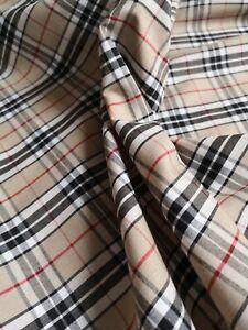 Fat Quarter Beige British TARTAN Fabric POLY COTTON Crafts Sewing FQ