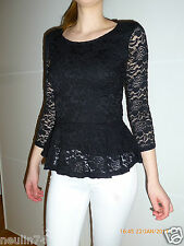 Damen Spitzen Bluse Spitzenshirt Gr. XS schwarz