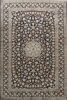 Vintage Traditional Floral Ardakan Area Rug Navy Blue Hand-Knotted Wool 9'x13'