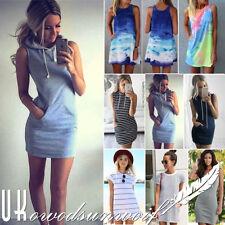 Womens Summer Casual Short Mini Dress Top Party Holiday Beach A-line Sundress UK