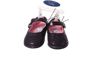 Baby Girls Black Glitter Christmas Dress Shoes 2 3 Mary Jane 6 9 12 Months NEW