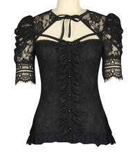 Gothik Viktorianischer Steampink Spitze Stretch Shirt Top BLUSE