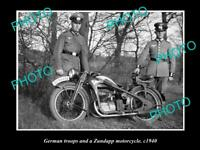 OLD POSTCARD SIZE MOTORCYCLE PHOTO OF ZUNDAPP MOTORCYCLE GERMAN SOLIDERS WWII