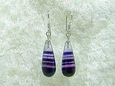 """Sterling silver purple Flourite earrings 20mm long 1 3/8"""" in total length"""